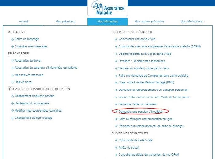 """Capture d'écran du compte ameli avec mise en évidence du téléservice dont le lien est """"Demander une pension d'invalidité"""""""