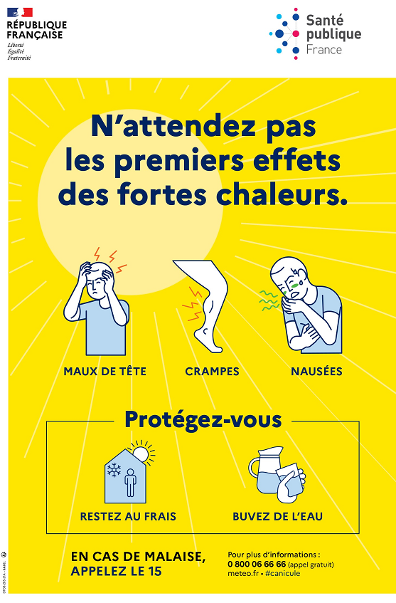 Flyer : n'attendez pas les premiers effets des fortes chaleurs. Maux de tête, crampes, nausées. Protégez-vous : restez au frais, buvez de l'eau. En cas de maladie, appelez le 15