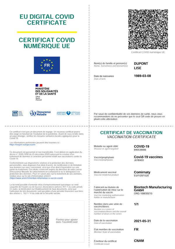 Exemple d'attestation de vaccination aux normes européennes