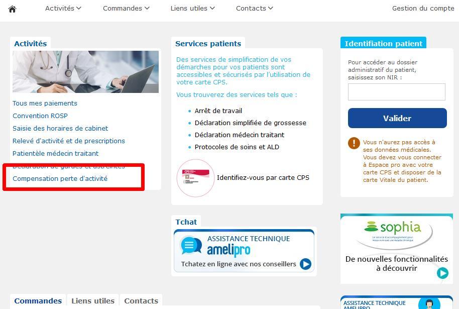 """Capture d'écran du compte ameli pro avec mise en évidence du téléservice """"Compensation perte d'activité"""""""