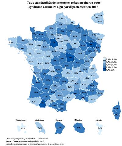 Carte de France présentant les taux de prise en charge pour le syndrome coronaire aigu par département en 2016