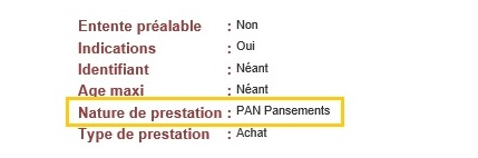 """Capture d'écran du site LPP avec dans le champ """"Nature de la prestation"""" est indiqué """": """"PAN Pansements"""""""