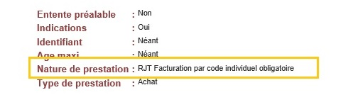 """Capture d'écran du site LPP avec dans le champ """"Nature de la prestation"""" est indiqué """": """"RJT Facturation par code générique obligatoire"""""""