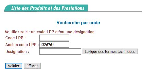 Recherche par code LPP : taper l'ancien code LPP « 1326761 » dans le champ « Ancien code LPP »