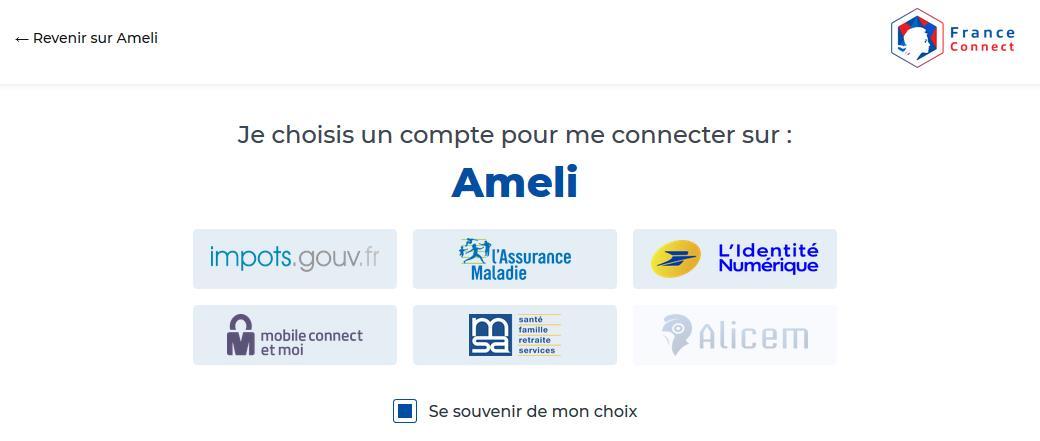 Capture d'écran du dispositif d'authentification FranceConnect :