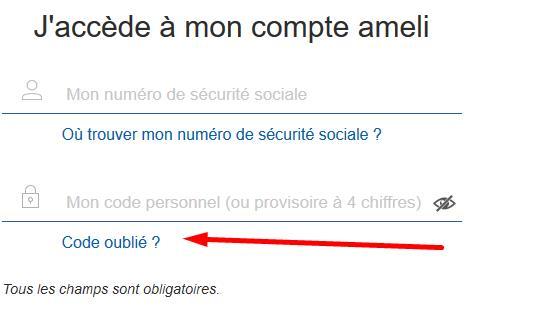 """Capture d'écran de la page d'authentification du compte ameli et du lien """"Code oublié"""""""
