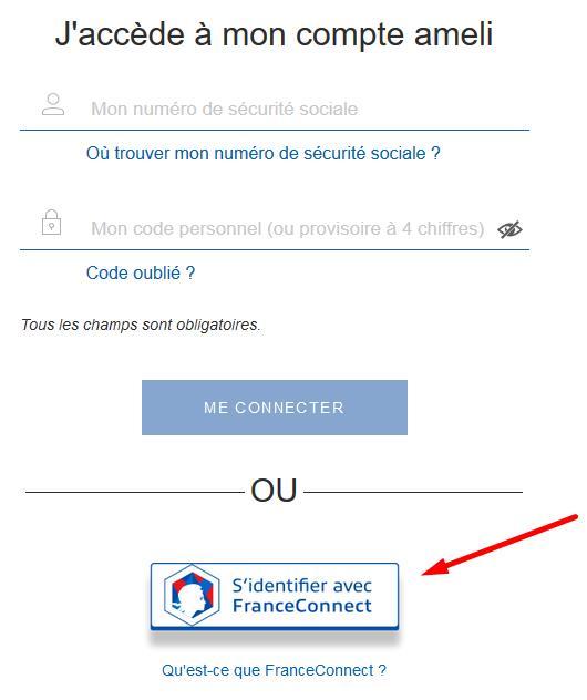 Capture d'écran de la page d'accueil du compte ameli avec mise en évidence du bouton « S'identifier avec FranceConnect » :