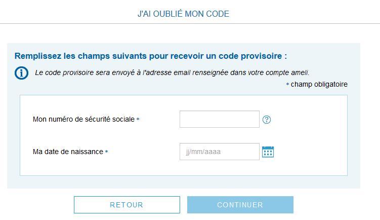 Capture d'écran du formulaire pour récupérer un code provisioire sur son adresse mail