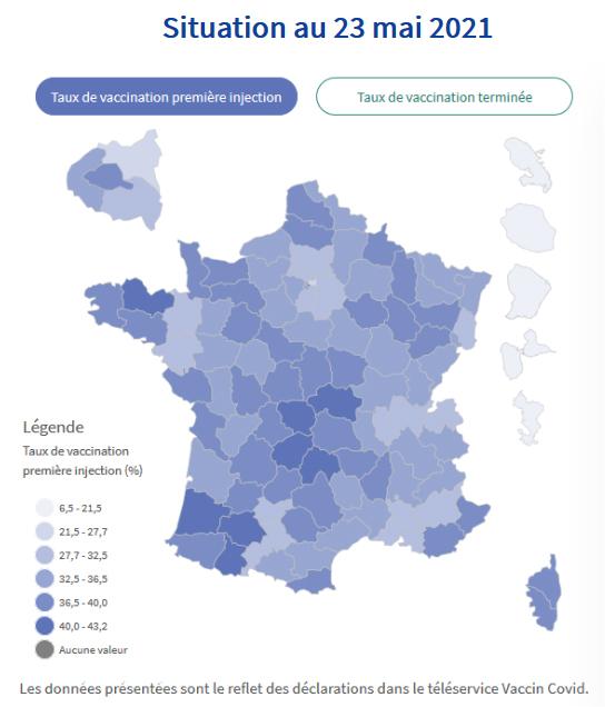 Carte présentant les % de vaccination (1re injection réalisée, et non cycle vaccinal achevé) par département, toutes catégories de population confondues, avec un dégradé de couleur