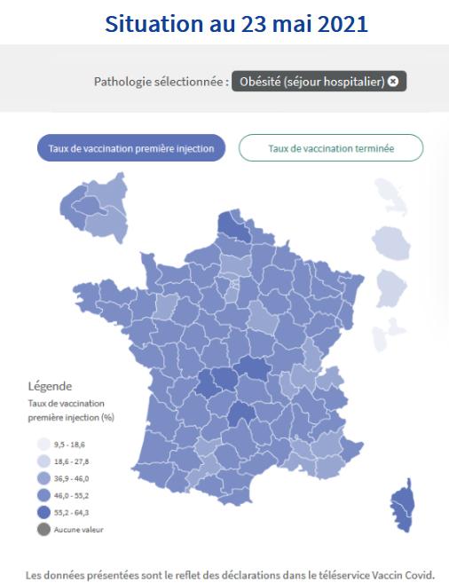 Carte présentant les taux de première injection de la vaccination des personnes atteints d'obésité par département