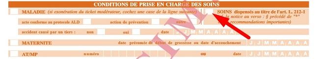 Exemple d'une feuille de soins avec une flèche indiquant la partie dans la zone « Conditions de prise en charge », case « Maladie »