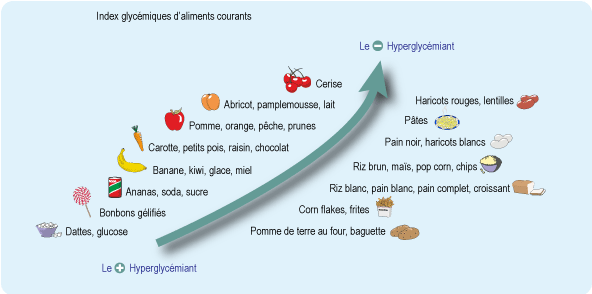 Courbe classant les aliments courants du plus hyperglycémiant au moins hyperglycémiant (cf. description détaillée ci-après)