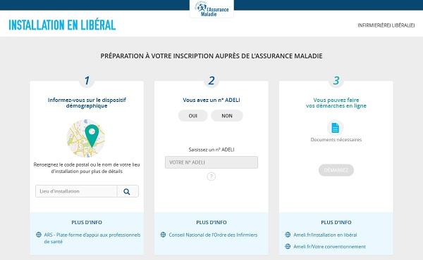 Capture d'écran du téléservice d'aide à l'installation des infirmiers