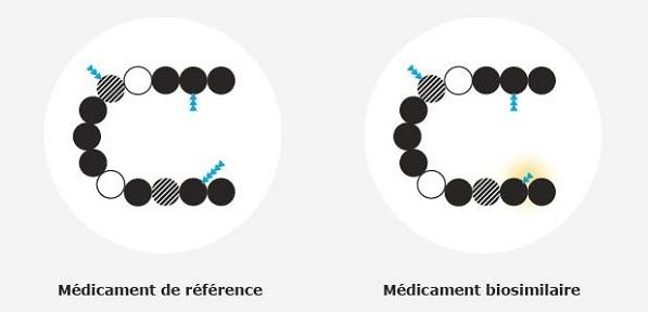 Illustration : Exemple de variabilité entre un médicament biosimilaire et le médicament de référence