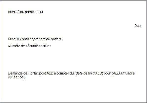 Modèle d'ordonnance de suivi post ALD comprenant identité du prescripteur et du patient (nom et numéro de sécurité sociale), la date et l'intitule à remplir Demande de Forfait post ALD à compter du (date de fin d'ALD) pour (ALD arrivant à échéance).