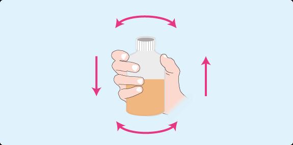 Schéma : mouvements à effectuer pour obtenir un liquide homogène