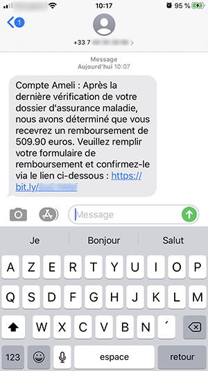 Capture d'écran d'un sms frauduleux